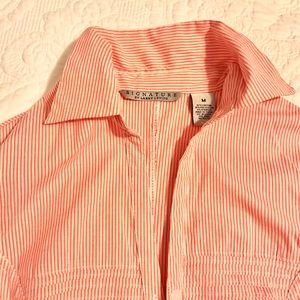 Signature by Larry Levine Tops - Pink and White Striped long sleeve Tunic Blouse